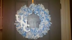 UNC Rag Wreath by DecorbyVM on Etsy, $25.00