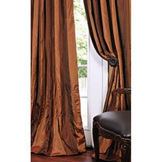 Shop for Exclusive Fabrics Signature Stripe Faux Silk Taffeta Curtain Panel. Get free delivery On EVERYTHING* Overstock - Your Online Home Decor Outlet Store! Silk Curtains, Striped Curtains, Panel Curtains, Drapery, Dining Room Curtains, Upholstered Dining Chairs, Navy Copper Bedroom, 108 Inch Curtains, Patterned Armchair