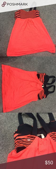 Lululemon top Coral and Navy Lululemon yoga top. lululemon athletica Other
