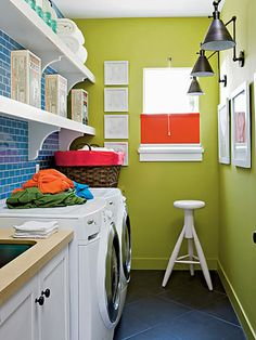To get this Fresh + Clean look, use YOLO Colorhouse THRIVE .02 wall colors, green walls, color combos, laundry area, laundry rooms, shelv, subway tiles, laundri room, bright colors