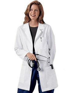 This is our best selling 32 inches long women lab coat that's with a notched collar and three buttons for closure.