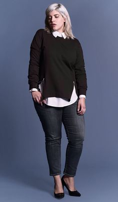 Wear it with nothing under, with a tank, with a shirt in classic white, print or a burst of color - it all looks terrific with the Corbelle Zip Sweater. Plus Size Fashion For Women, Plus Size Women, Plus Fashion, Fashion Ideas, Queer Fashion, Androgynous Fashion, Curvy Outfits, Casual Outfits, Converse Outfits