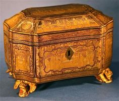 Antique Chinese Painted Gilt-Lacquered Wooden Tea Caddy Box