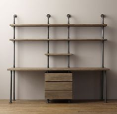 RH baby&child's Industrial Pipe Double Desk & Shelving with Drawers:Sturdy steel pipes and matching cast fittings serve as the structure for our hardworking pieces, while warm wood planks provide support for books and a workspace for the industrious.