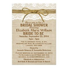 Ivory Lace  Rustic Twine Bow Burlap Bridal Shower Personalized Invitation