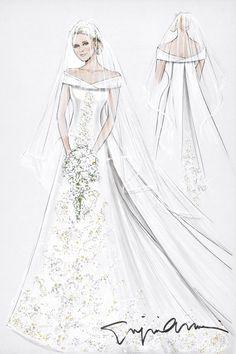 JULY 2011 - A sketch of the Monaco royal wedding dress, by Giorgio Armani