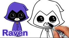 How to Draw Raven from Teen Titans Go Cute and Easy Easy Drawings Sketches, Disney Drawings, Cartoon Drawings, Cute Drawings, Girl Drawing Easy, Easy Drawing Steps, Step By Step Drawing, Draw So Cute People, Draw So Cute Food