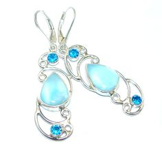 $57.99 Precious+Blue+Larimar+Gold+Rhodium+plated+over+Sterling+Silver+handmade+earrings at www.SilverRushStyle.com #earrings #handmade #jewelry #silver #larimar
