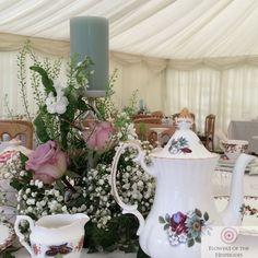 Wedding Gypsophila and Pink Rose Table Centre - Vintage - Tea - Candles - Flowers by Flowers of the Hesperides Gypsophila Wedding, Wedding Flowers, Tea Candles, Table Centers, Vintage Tea, Summer Wedding, Table Decorations, Rose, Centre
