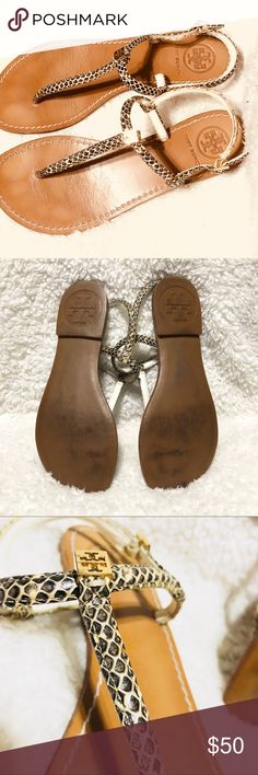 Tory Burch Snake Embossed Alfie Thong Sandals Good used condition. Some signs of wear. Nothing major. No box. Tory Burch Shoes Sandals