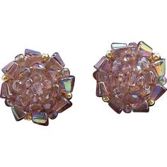 Aurora Borealis Lilac Crystal Beaded Clip on Earrings  Made in Western Germany.   Jewelry under $25 at Ruby Lane @rubylanecom