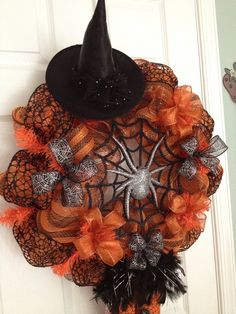 Shop for wreath on Etsy, the place to express your creativity through the buying and selling of handmade and vintage goods. Halloween Goodies, Halloween Items, Holidays Halloween, Halloween Crafts, Halloween Decorations, Halloween Wreaths, Thanksgiving Wreaths, Holiday Wreaths, Holiday Crafts