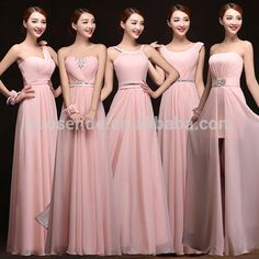 New style pink bridesmaid dresses Long length bridesmaid dresses online