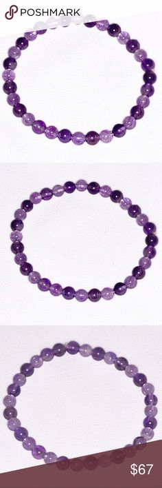 """Authentic Amethyst Bracelet! Stylish Brazil Amethyst Gemstone Bracelet! Some say that Amethyst has been highly esteemed throughout the ages for its beauty & legendary Healing powers to stimulate, and soothe, the mind and emotions. The Ancients considered it a """"Gem of Fire,"""" a Precious Stone worth, at times in history, as much as a Diamond. (Bundle 3 listings & Save with my Discount!) Jewelry Bracelets"""