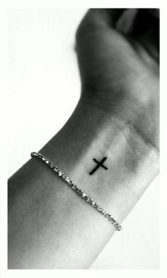 Cross Tattoo on Wrist.