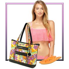 """""""Flower Power Paradise Cove Beach Large Tote"""" by beachhandbags on Polyvore.  Paradise Cove Beach Large Tote is the perfect bag for a relaxing day at the beach or pool! #beachhandbags #beachbags #handbags #neoprene #tote #caryall #fashion #style"""