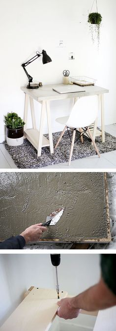 This cool, minimalist desk features a DIY concrete desktop and a simple wooden frame for the desk legs. DIYer Manda McGrath of The Merrythought explains all the steps in this tutorial. (Cement Step One Day) Concrete Furniture, Concrete Projects, Diy Concrete, Diy Furniture, Concrete Table, Minimalist Desk, Desk Legs, Table Legs, Diy Interior