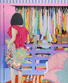 I need more and more by Naomi Okubo / acrylic painting / Japanese artist / Her illustrations often portrait the relationships between people and fashion. Her images are very flat with vibrant and often pastel and/or highly saturated colors. Art And Illustration, Art Japonais, Collage, Arte Floral, Colorful Paintings, Japanese Artists, Art Design, Artist Art, Figurative Art