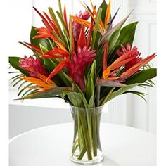 Wedding Flower Arrangements Birds of Paradise and Pink Ginger flower bouquets Tropical Flowers, Tropical Flower Arrangements, Hawaiian Flowers, Wedding Flower Arrangements, Exotic Flowers, Fresh Flowers, Tropical Decor, Beautiful Flowers, Wedding Flowers