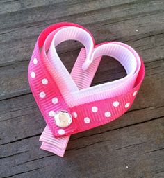 Pink and White Polka Dots Heart Ribbon Sculpture Hair Clip - Toddler Hair Bows - Girls Hair Accessories... .