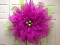Beautiful deco mesh flower wreath that measures by TheFrolickyFrog