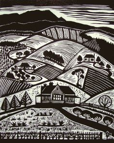 Old Paradise Road- Linocut Woodcut Art, Linocut Prints, Engraving Illustration, Illustration Art, Fields In Arts, Linoleum Block Printing, Etching Prints, Art Prints For Home, Linoprint