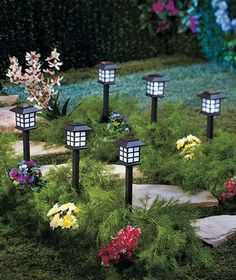 Set of 6 Solar Lantern Stakes by ABC. $29.99. No Wiring. solar rechargeable LED Lights. yard garden lighting. Set of 6 Solar Lantern Stakes Our Set of 6 Solar Lantern Stakes is functional and decorative lighting for your outdoors. You will be dazzled by the bright light provided by the pyramid-shaped reflectors inside the mission-style lanterns. The power of the sun provides the light. An on/off switch controls the lights, and a sensor turns them on automatically when it gets...