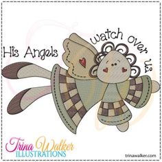 Angel Ally 1 Machine Embroidery Design 4x4 (doesn't include text) & 5x7 http://trinawalker.com/shop/index.php?main_page=product_info&cPath=78_79&products_id=187