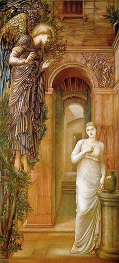 The Annunciation by Edward Burne-Jones, 1833-1898,  British artist and designer closely associated with the later phase of the Pre-Raphaelite movement, who worked closely with William Morris on a wide range of decorative arts. Information source: Wikipedia.