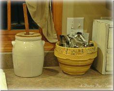 Crocks  A Primitive Place ~ Tammy  www.aprimitiveplace.net  Butter churn!