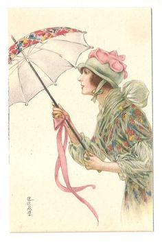 Colombo Artist Signed Italy Vintage Postcard Woman with Parasol 1