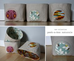 """Fabric Boxes: """"Peek-a-boo Naturals"""" by smidgebox designs."""