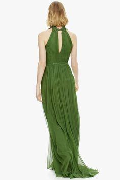 Vestido de seda y escote halter bordado - Vestidos | Adolfo Dominguez shop online