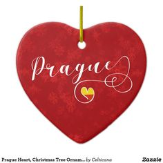 #Prague Heart, Christmas Tree Ornament, #Czech. This design is also available on a wide range of apparel #ChristmasOrnaments #HolidayOrnaments