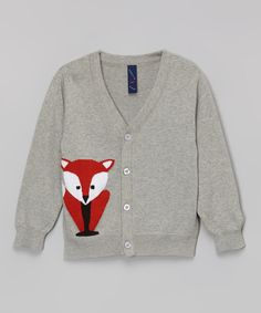 Heather Gray Fox Cardigan - Infant, Toddler & Boys | zulily