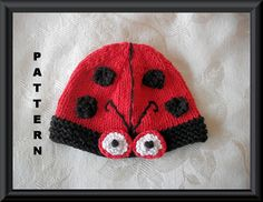 Ladybug Baby Hat Knitting Pattern by CottonPickings on Etsy