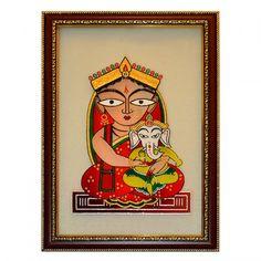 Jamini Roy: Parvati and Ganesha - Glass Painting
