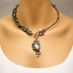 Gemstone Necklace For Women, Green Aventurine Necklace, Rustic Copper Jewelry, Wire Wrapped Antique Copper Necklace , Gift For Her by BeyhanAkman on Etsy Wire Necklace, Wire Wrapped Necklace, Copper Necklace, Bridal Necklace, Copper Jewelry, Gemstone Necklace, Wire Jewelry, Wedding Jewelry, Copper Wire