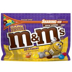 One oz sharing size bag of M&M'S Dark Chocolate Peanut Candy. Split a sharing-size bag of M&M'S Dark Chocolate Peanut Candy, made with real dark chocolate and whole peanuts in colorful candy shells. Dark Chocolate Candy, Chocolate Covered Peanuts, Chocolate Brands, Chocolate Caramels, Chocolate Treats, Peanut Butter Candy, Chocolate Peanut Butter, Almond Chocolate, Chocolates