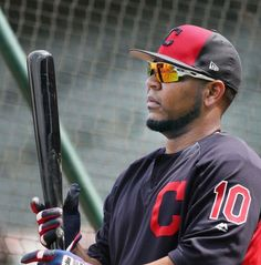 Cleveland Indians Edwin Encarnacion, during batting practice before the game against the Chicago White Sox on Opening Day at Progressive Field, on April 11, 2017.  (Chuck Crow/The Plain Dealer)
