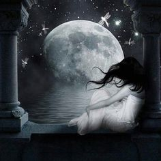 Girl watches moon