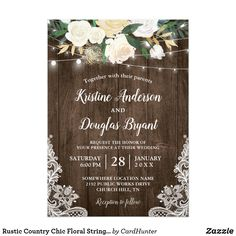 Rustic White Floral String Lights Birthday Party Card - diy cyo customize create your own personalize Country Wedding Invitations, 1st Birthday Invitations, Rehearsal Dinner Invitations, Rustic Invitations, Wedding Stationery, Holiday Invitations, Card Birthday, Wood Invitation, Party Invitations