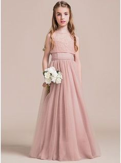 A-Line/Princess Sweetheart Floor-Length Zipper Up Spaghetti Straps Sleeveless Yes Other Colors General Tulle Junior Bridesmaid Dress