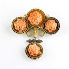 Antique Victorian 15K Gold Carved Coral Corals Brooch with Drop Exquisite  P820