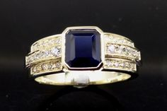 Blue Australian Sapphire Diamond Yellow Gold Dress Ring remodelled from old worn out Jewellery by Peter Kumskov 'My Own Jeweller Direct' Brisbane's great bespoke Jeweller. The lady was so happy she cried tears of joy.