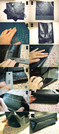 Will be making this In black and cream -DIY LEATHER LUNCH BAG like the size of this one! Leather Bag Pattern, Sewing Leather, Leather Craft, Diy Leather Lunch Bag, Leather Purses, Leather Handbags, Mk Handbags, Leather Bags, Diy Sac