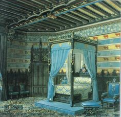 Chateau de Roquetaillade 's bedroom , France