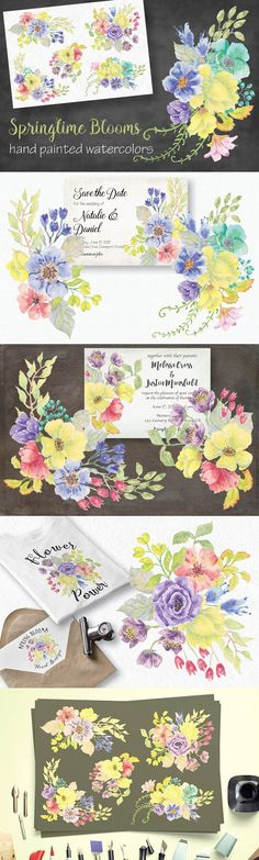 Watercolor sprays of mixed yellow. Wedding Card Templates