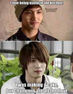Poor umma.. Changminnie, give the flour back to umma. Later, i give you more. *buy one truck of flour*
