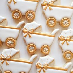 White and Gold Baby Carriages By The Sweetest Tiers Fancy Cookies, Iced Cookies, Cute Cookies, Cupcake Cookies, Sugar Cookies, Baby Shower Sweets, Baby Shower Cookies, Galletas Decoradas Baby Shower, Gold Baby Showers